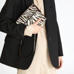 Zara Zebra Leather Crossbody Bucket Bag 2010/004